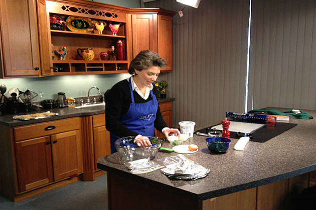 Lori preparing ingrediants for spanikopita