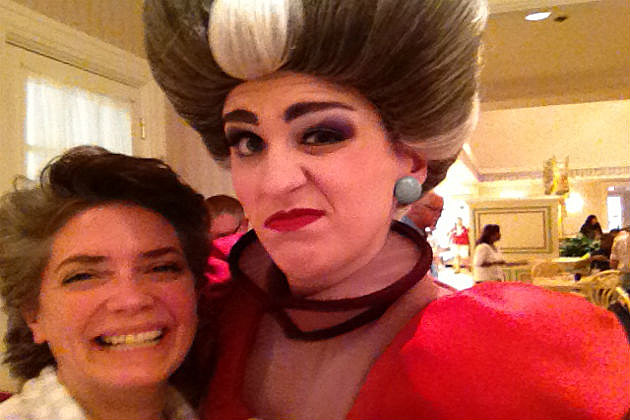 Lori and Lady Tremaine at Disneys 1900 Park Fare