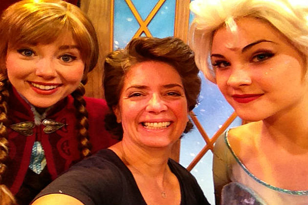 Lori and selfie with Elsa and Anna at Epcot