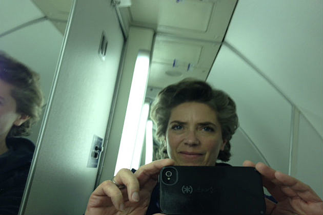 airplane bathroom pic of Lori Voornas