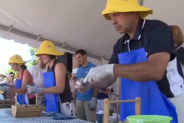 Clam Shucking at Yarmouth Clam Festival